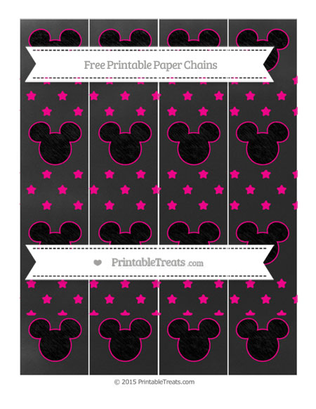 Free Magenta Star Pattern Chalk Style Mickey Mouse Paper Chains