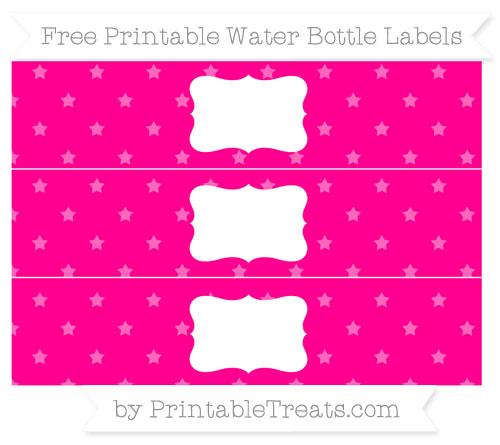 Free Magenta Star Pattern Water Bottle Labels
