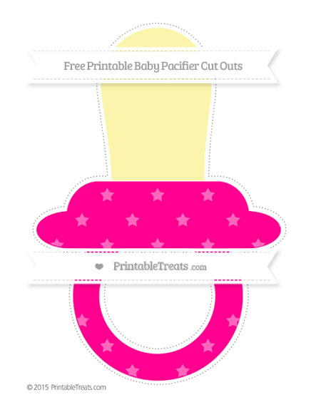 Free Magenta Star Pattern Extra Large Baby Pacifier Cut Outs