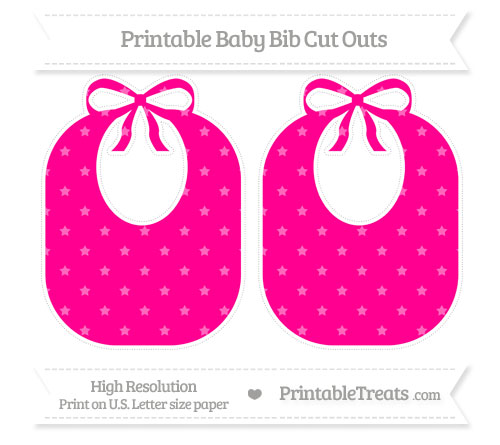 Free Magenta Star Pattern Large Baby Bib Cut Outs