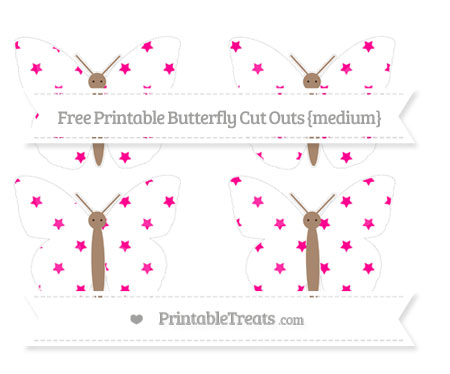 Free Magenta Star Pattern Medium Butterfly Cut Outs