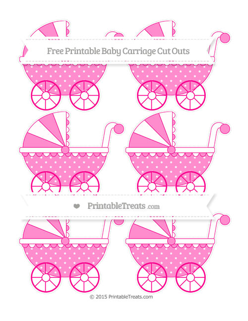Free Magenta Star Pattern Small Baby Carriage Cut Outs