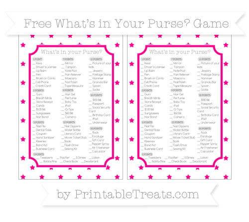 Free Magenta Star Pattern What's in Your Purse Baby Shower Game