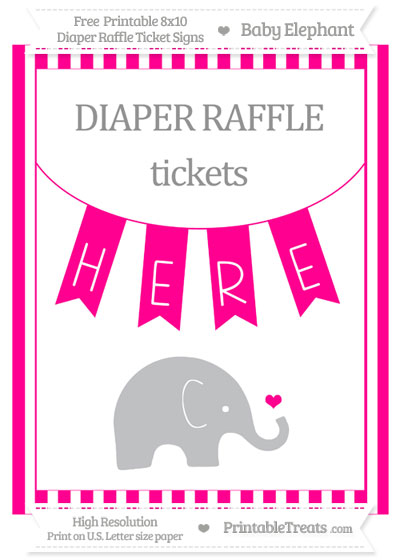 Free Magenta Striped Baby Elephant 8x10 Diaper Raffle Ticket Sign
