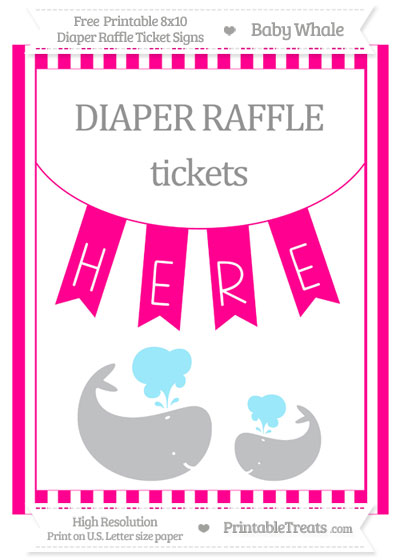 Free Magenta Striped Baby Whale 8x10 Diaper Raffle Ticket Sign
