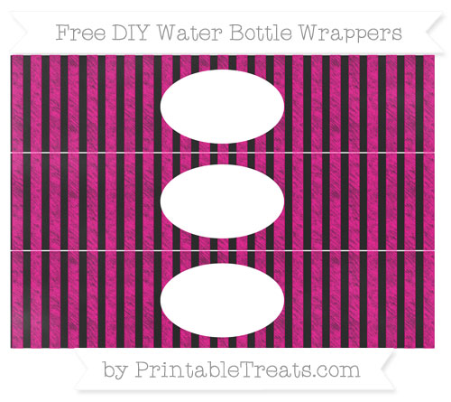 Free Magenta Striped Chalk Style DIY Water Bottle Wrappers