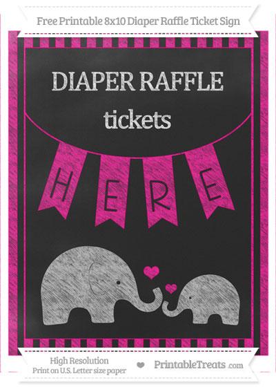 Free Magenta Striped Chalk Style Elephant 8x10 Diaper Raffle Ticket Sign