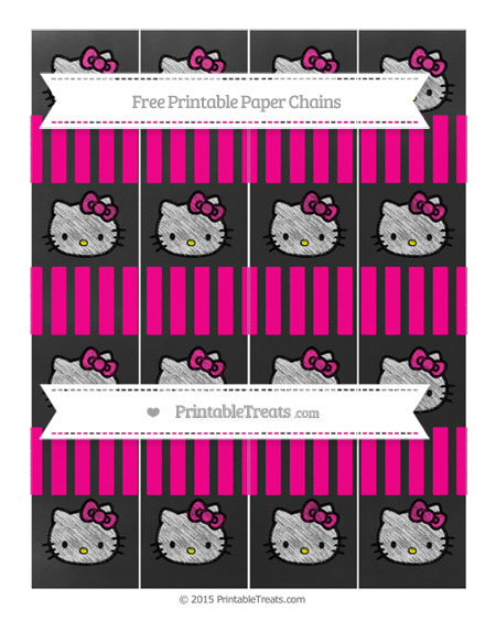 Free Magenta Striped Chalk Style Hello Kitty Paper Chains