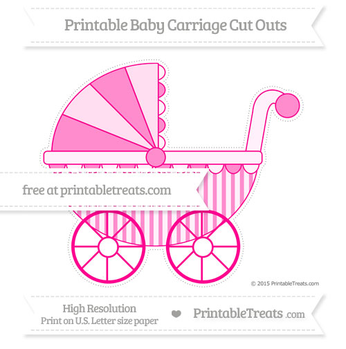 Free Magenta Striped Extra Large Baby Carriage Cut Outs
