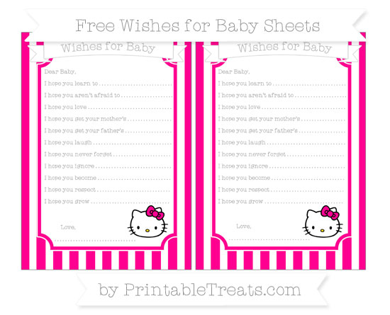 Free Magenta Striped Hello Kitty Wishes for Baby Sheets