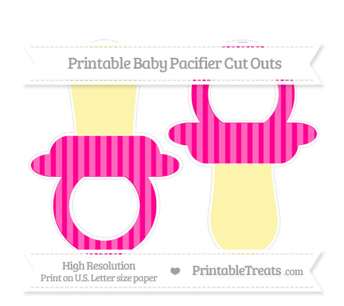 Free Magenta Striped Large Baby Pacifier Cut Outs