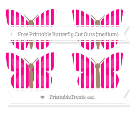 Free Magenta Striped Medium Butterfly Cut Outs
