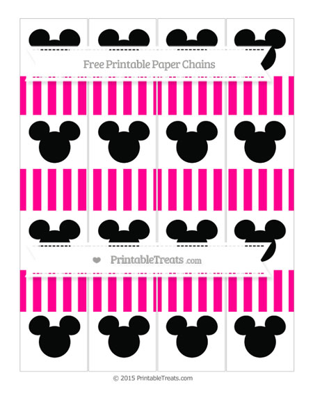 Free Magenta Striped Mickey Mouse Paper Chains