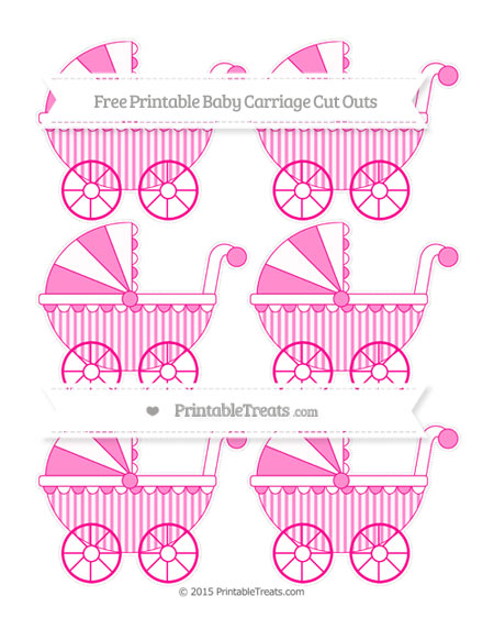 Free Magenta Striped Small Baby Carriage Cut Outs