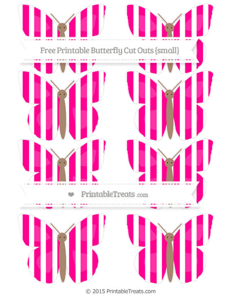 Free Magenta Striped Small Butterfly Cut Outs