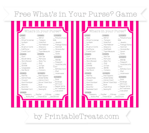 Free Magenta Striped What's in Your Purse Baby Shower Game