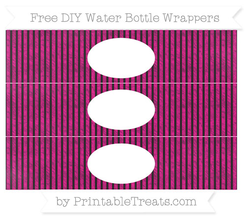 Free Magenta Thin Striped Pattern Chalk Style DIY Water Bottle Wrappers
