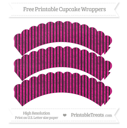 Free Magenta Thin Striped Pattern Chalk Style Scalloped Cupcake Wrappers