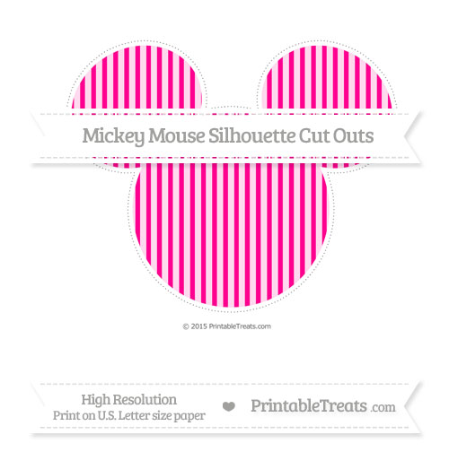 Free Magenta Thin Striped Pattern Extra Large Mickey Mouse Silhouette Cut Outs