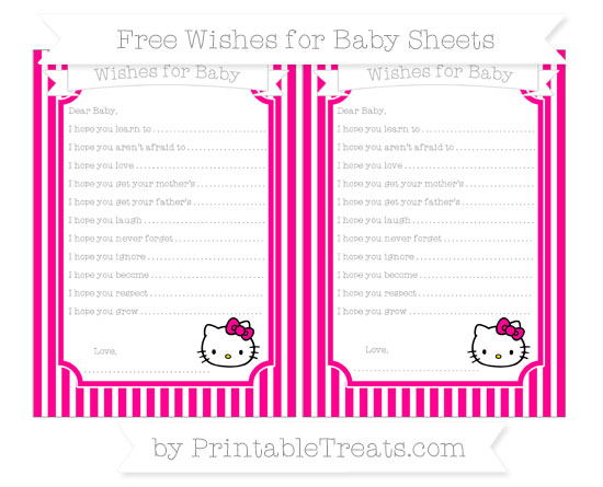 Free Magenta Thin Striped Pattern Hello Kitty Wishes for Baby Sheets
