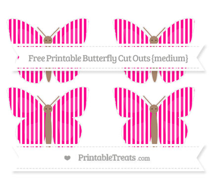 Free Magenta Thin Striped Pattern Medium Butterfly Cut Outs
