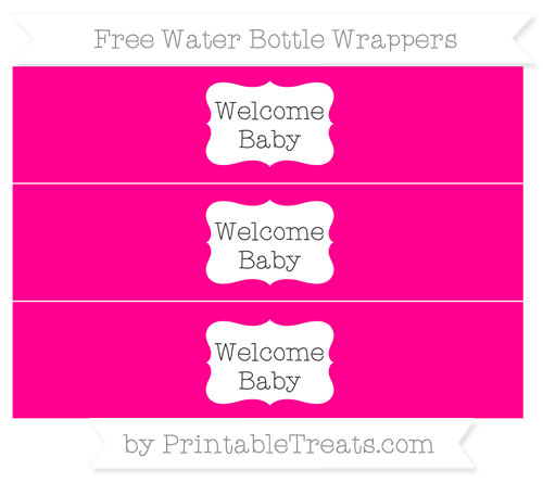 Free Magenta Welcome Baby Water Bottle Wrappers