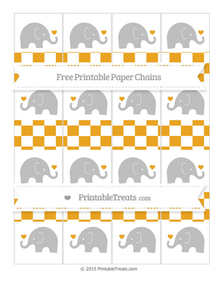 Free Marigold Checker Pattern Baby Elephant Paper Chains