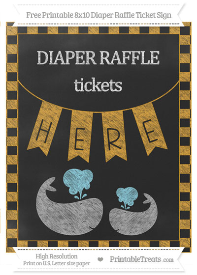 Free Marigold Checker Pattern Chalk Style Baby Whale 8x10 Diaper Raffle Ticket Sign