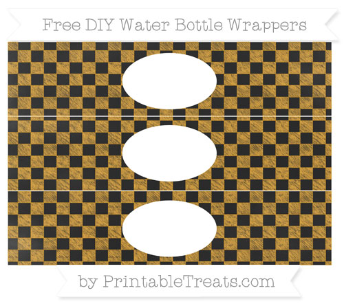 Free Marigold Checker Pattern Chalk Style DIY Water Bottle Wrappers