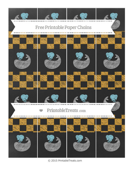 Free Marigold Checker Pattern Chalk Style Whale Paper Chains