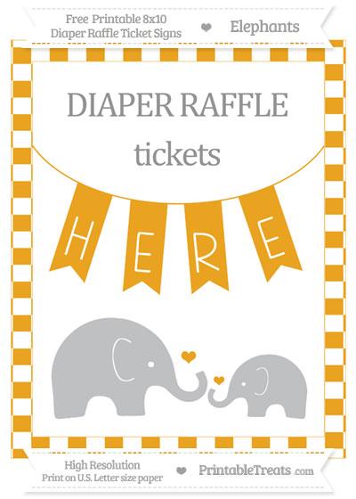 Free Marigold Checker Pattern Elephant 8x10 Diaper Raffle Ticket Sign