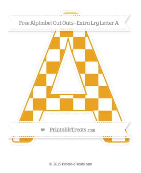 Free Marigold Checker Pattern Extra Large Capital Letter A Cut Outs