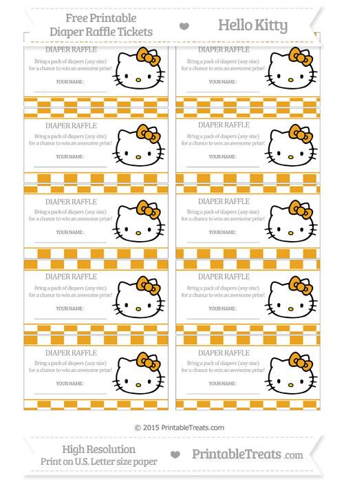 Free Marigold Checker Pattern Hello Kitty Diaper Raffle Tickets
