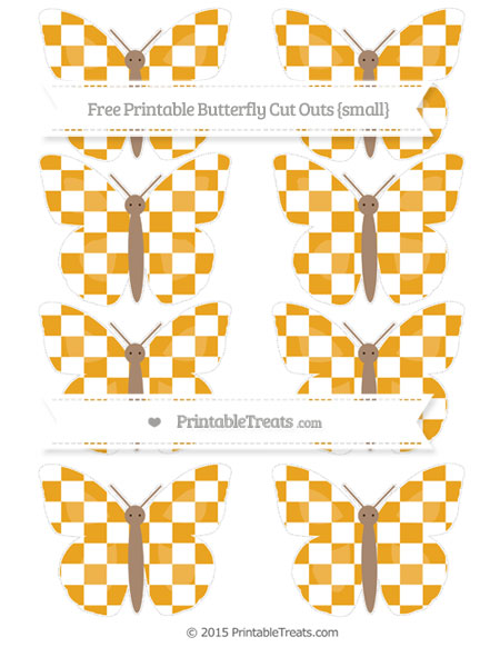Free Marigold Checker Pattern Small Butterfly Cut Outs