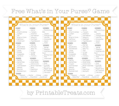 Free Marigold Checker Pattern What's in Your Purse Baby Shower Game