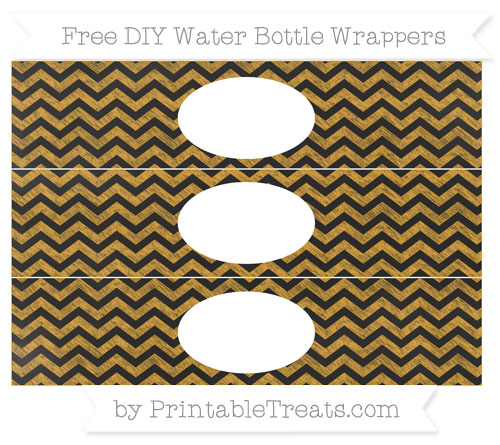 Free Marigold Chevron Chalk Style DIY Water Bottle Wrappers