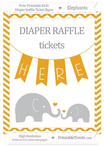 Free Marigold Chevron Elephant 8x10 Diaper Raffle Ticket Sign