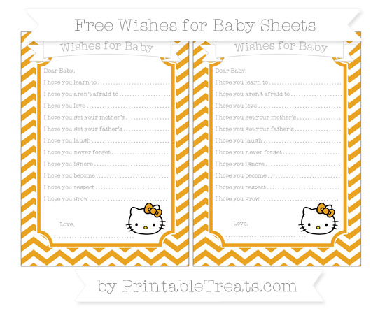 Free Marigold Chevron Hello Kitty Wishes for Baby Sheets