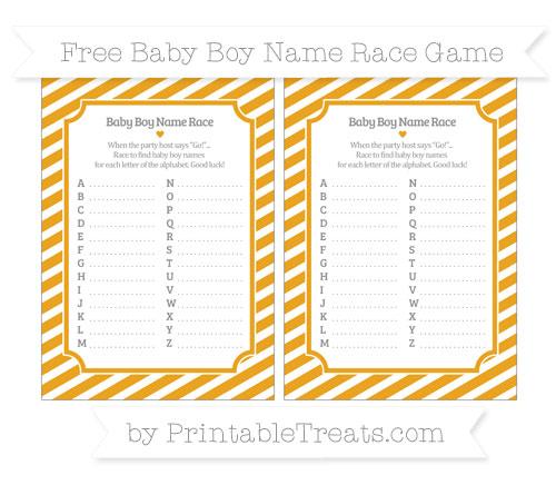 Free Marigold Diagonal Striped Baby Boy Name Race Game