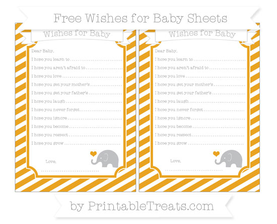 Free Marigold Diagonal Striped Baby Elephant Wishes for Baby Sheets