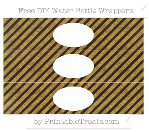 Free Marigold Diagonal Striped Chalk Style DIY Water Bottle Wrappers