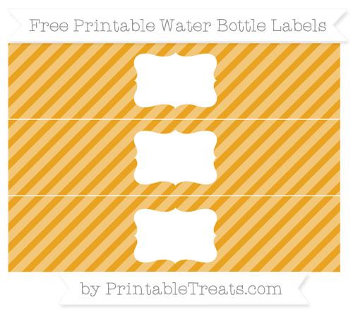 Free Marigold Diagonal Striped Water Bottle Labels