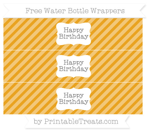 Free Marigold Diagonal Striped Happy Birhtday Water Bottle Wrappers