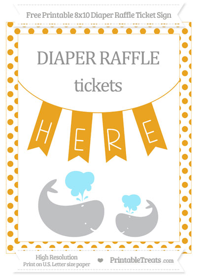 Free Marigold Dotted Baby Whale 8x10 Diaper Raffle Ticket Sign