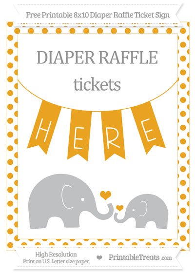 Free Marigold Dotted Elephant 8x10 Diaper Raffle Ticket Sign