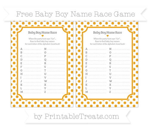 Free Marigold Dotted Pattern Baby Boy Name Race Game