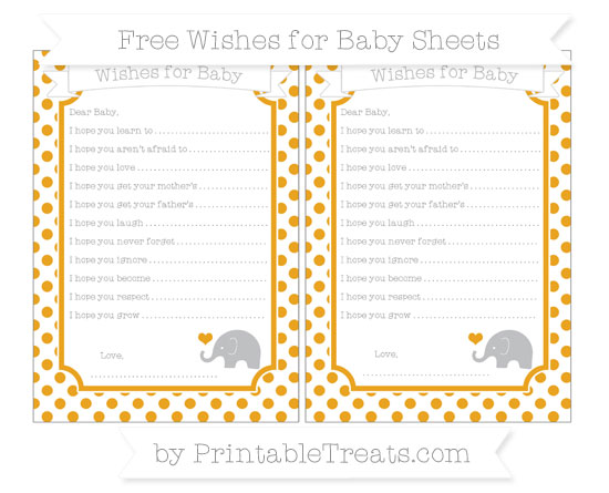 Free Marigold Dotted Pattern Baby Elephant Wishes for Baby Sheets