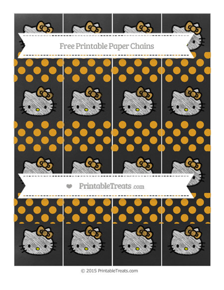 Free Marigold Dotted Pattern Chalk Style Hello Kitty Paper Chains