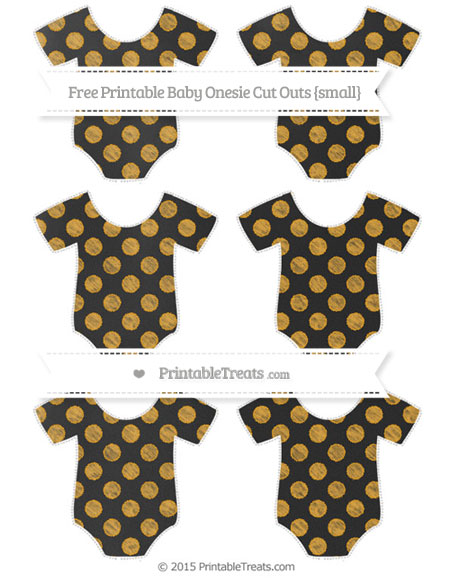 Free Marigold Dotted Pattern Chalk Style Small Baby Onesie Cut Outs