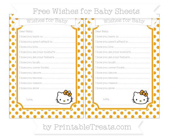 Free Marigold Dotted Pattern Hello Kitty Wishes for Baby Sheets